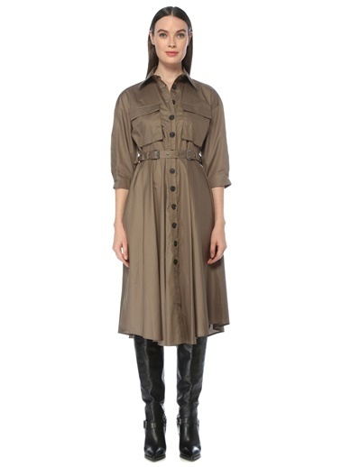 NetWork Kadın 1076002 Basic Fit Beli Kemerli Midi Elbise Haki
